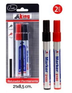 Rotulador permanente 2 unds. Pack 6 Unidades - King Bazar