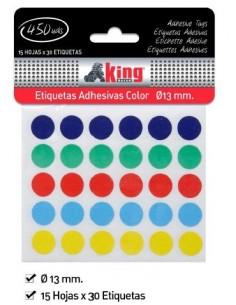Etiqueta Adhesiva Colores. 15 H x 30 Et. Pack de 6 Uds. K.Bazar