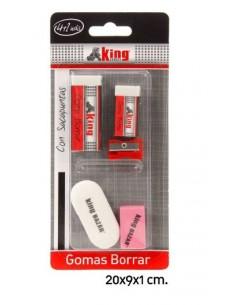 Goma de Borrar 4 piezas+Sacapuntas - Pack de 6 udes. - K.Bazar