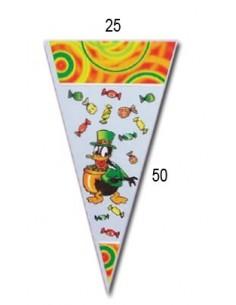 Bolsa Cono Grande Mod. Pato Caramelo 25x50. Pack 100 Uds.