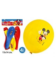 Globos colores 4 unidades Mickey.